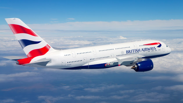 british airways aircraft in flight