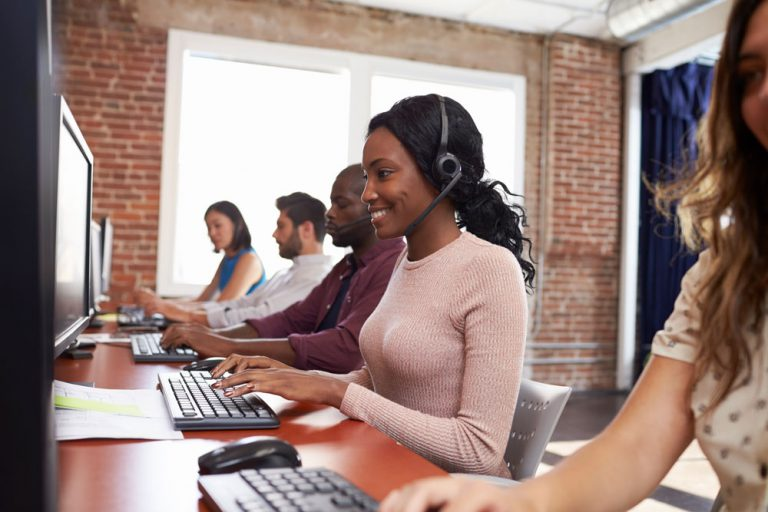 agents working in modern call center