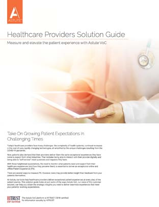 Cover Astute VoC solution guide for Healthcare Providers